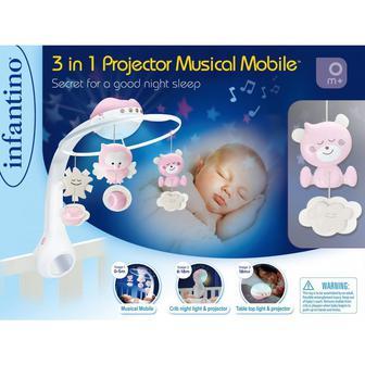 Музыкальный мобиль с проектором INFANTINO 3 в 1 Серый (004915I)