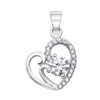 Серебряная подвеска «Сердце» с фианитами. Артикул 1PE44920-P