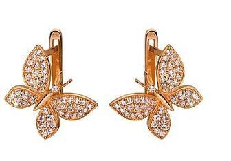 Золотые серьги Бабочки с фианитами Артикул 01-17520217