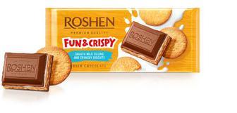 Шоколад молочний з молочною начинкою та печивом Рошен 145г