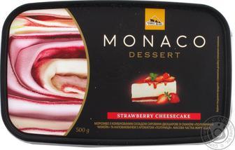 Мороженое Три Медведя Monaco Dessert клубничный чизкейк двухслойное 500г