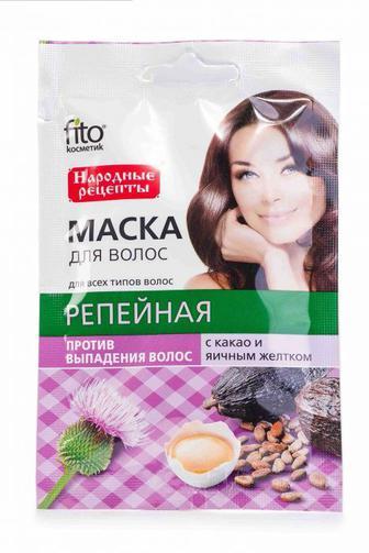 Маска для волос Fitoкосметик с какао и желтком Репейная 30 мл