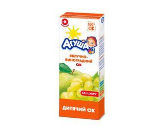 Сік «Агуша» без цукру яблучно-виноградний, 200 мл