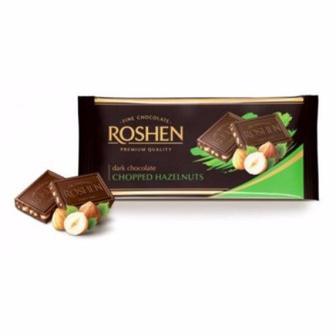 Шоколад екстрачорний з подрібленими лісовими горіхами, Рошен, 90 г