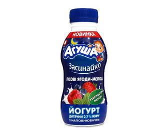 Йогурт «Агуша» дитячий лісові ягоди-меліса, 2,7%, 200г