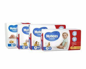Подгузники Huggies Classic 11-25 кг №1 (42) / 4-9 кг №1 (58)/ 7-18 кг №1 (50)