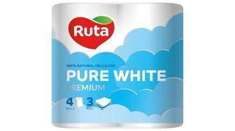 Бумага туалетная Pure White Ruta 4шт