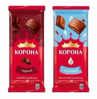 Шоколад молочный/чорный Корона, 90гр