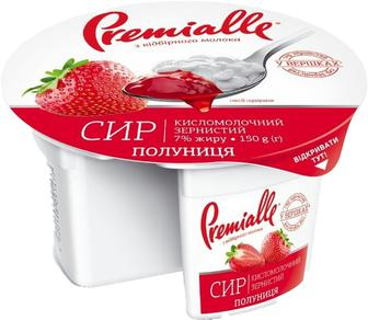 Сир Premialle Полуниця, зернистий 150г ст