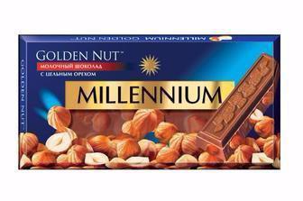 Шоколад молочний, білий, чорний з цілими горіхами, Millennium Gold, 100 г