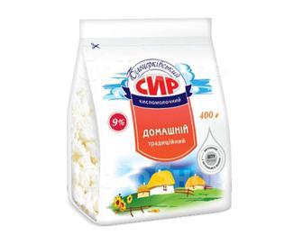 Сир кисломолочний Білоцерківський Домашній традиційний 9% жиру, 400 г