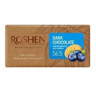 Шоколад чорний з чорницею та печивом 56% 90г