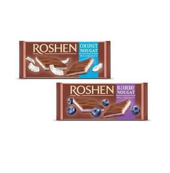 Шоколад молочний з нугою горіховою, кокосовою, чорничною Roshen 90г
