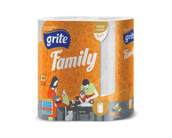 Рушники паперові Grite Family, 2 рулони/уп