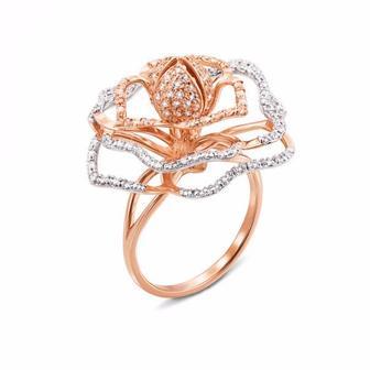 Золотое кольцо с фианитами. Артикул 13039