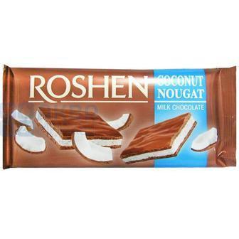 Шоколад молочний з кокосовою нугою, Рошен, 90 г
