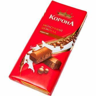Шоколад пористий молочний, чорний, білий Корона 90г