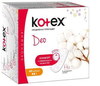 Ежедневные гигиенические прокладки Кotex Део Нормал 60 шт