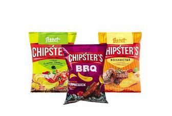 Чіпси «Chipster`s» зі смаком томату Спайсі/ реберець барбекю/телятини з аджикою Flint 110 г