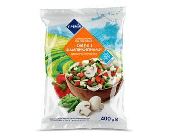 Суміш овочів «Овочі з шампіньйонами» заморожена «Премія» 400г