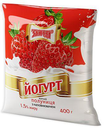 Йогурт Злагода Полуниця 1,5% 400г