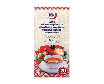 Суміш ягідно-плодового та квіткового чаю дрібного ароматизованого «Мультифрут» «Повна Чаша»® 20×2 г