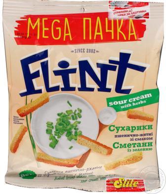 Сухарики Флинт пшеничные сметана та зелень 110г