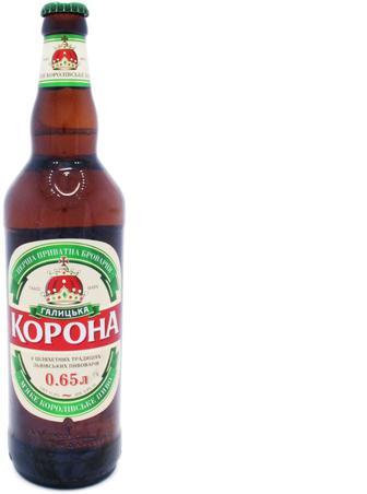 Пиво Перша приватна броварня Галицька Корона світл, 0,65 л