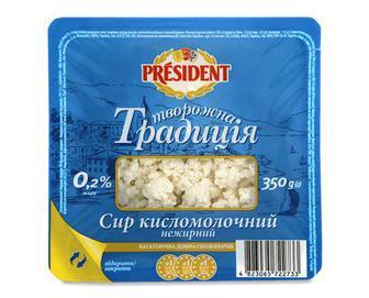 Сир кисломолочний President «Творожна традиція» 0,2% жиру, 350г