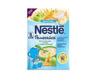 Каша Nestle, молочна з йогуртом, Помогайка, 3 злаки, з грушею та яблуком, 200 г