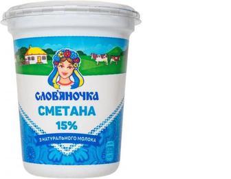 Сметана 15%, 0,345кг, Слов'яночка