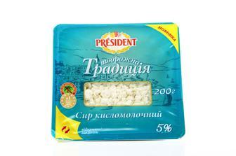 """Сир кисломолочний 5% """"Творожна Традиція Президент 200 г"""