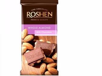 Шоколад молочний з цілим мигдалем, Рошен, 90 г