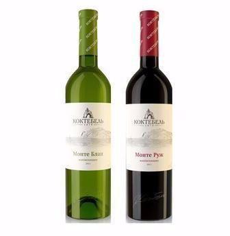Вино столове напівсолодке біле Монте Блан/ червоне Монте Руж Koktebel 0,75л