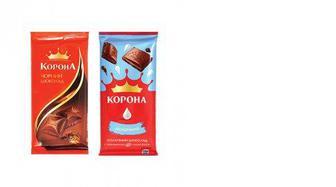 Шоколад молочный, черный, Корона, 85г
