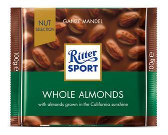 Шоколад молочний Ritter Sport з цільним мигдальним горіхом, 100г