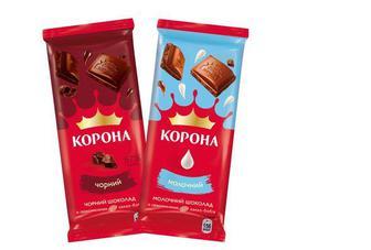 """Шоколад """"Корона"""" чорний, молочний, 85г"""