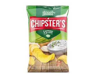 Скидка 43% ▷ Чіпси Flint Chipster's натуральні зі смаком сметани та зелені, 130г