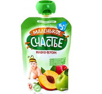 фруктового пюре Маленькое счастье Яблоко - Персик с 5 месяцев 90 г