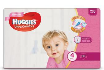 Підгузки Huggies Ultra Comfort для дівчаток 4 (8-14 кг) 66 шт./уп