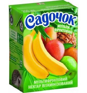 Сок мультифруктовый витаминизированный с мякотью нектар Садочок 0,2л