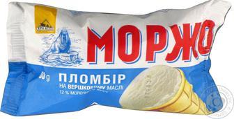 Морозиво Пломбір ванільний Моржо Три Ведмеді 80г