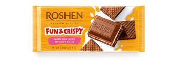 Шоколад молочний з шоколадною начинкою та вафлею Рошен 145г